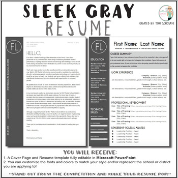 teacher resume template sleek gray and white tpt
