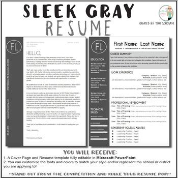 Teacher Resume Template - Sleek Gray and White