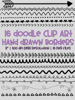 Modern Hand Drawn Doodle Borders