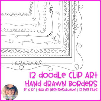 Modern Hand Drawn Doodle Page Borders