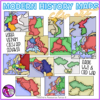 World War 2 and The Cold War Modern History Maps