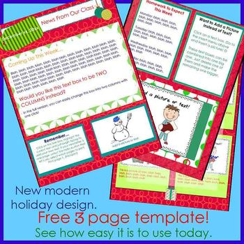 modern holiday newsletter template by the upper elementary classroom