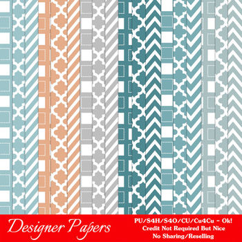 Modern Hues Colors 1 Patterns Digital Papers A4 size