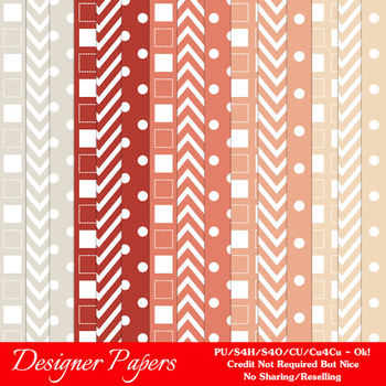 Modern Hues Colors 2 Patterns Digital Papers A4 size