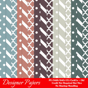 Modern Hues Colors 3 Patterns Digital Papers