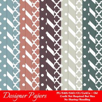 Modern Hues Colors 3 Patterns Digital Papers