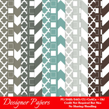 Modern Hues Colors 4 Patterns Digital Papers A4 size