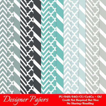 Modern Hues Colors 5 Patterns Digital Papers A4 size