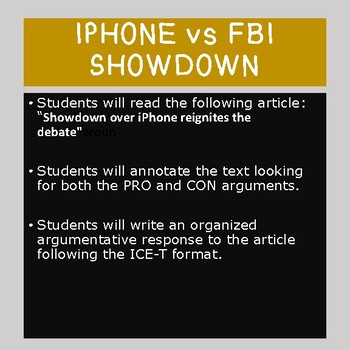 Modern Issues Reading:  Iphone vs FBI, Argumentative