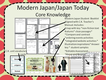 Modern Japan/Japan Today Second Grade Core Knowledge Bundle with work samples