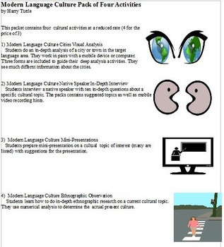 Modern Language Culture Activities Pack 4 Different Activities
