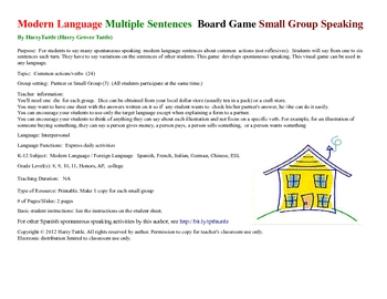 Modern Language Multiple Sentences  Board Game  Small Group Speaking
