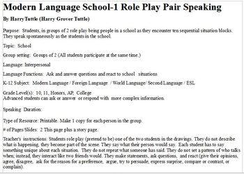 Modern Language  School -1  Role Play Pair Speaking