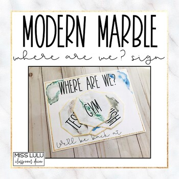 Modern Marble Where Are We? Door Sign