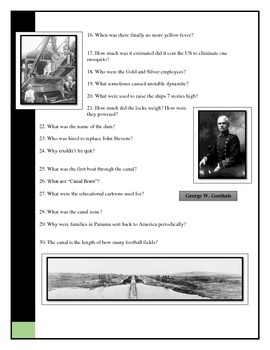 BYOD Assignment - Modern Marvels Panama Canal video worksheet/questions