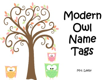 Modern Owl Name Tags