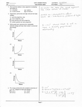Modern Physics Exam Review Sheet Answer Key