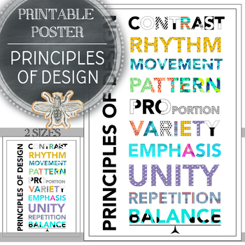 Modern Principles of Design Printable Poster in Two Sizes, Art Classroom Decor