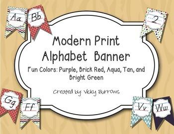 Modern Print Alphabet Banner in Fun Colors