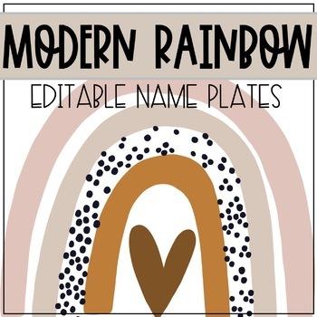 Modern Rainbow EDITABLE Name Plates