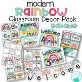 Boho Modern Rainbow Editable Classroom Decor Pack