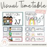 Modern Rainbow Visual Timetable   Editable Boho Rainbow Da