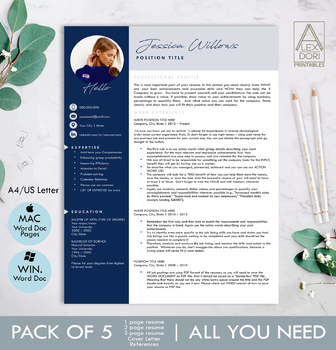 Modern Resume Template with Photo in Navy & Gray ALL-IN-ONE for Mac Pages &  Word