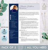 Modern Resume Template with Photo in Navy & Gray ALL-IN-ON