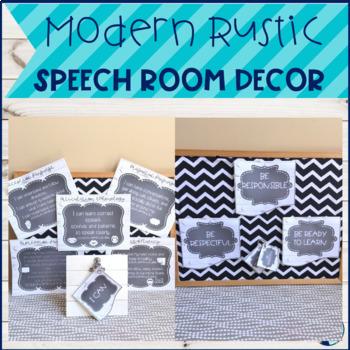 Speech Room Decor:  Modern Rustic