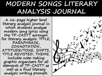 Modern Songs Literary Analysis Journal