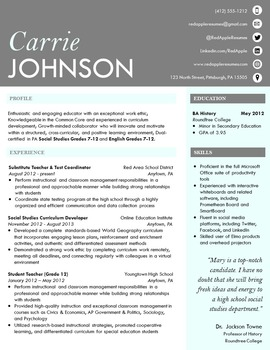 Modern Teacher Resume - Sea Mist Template