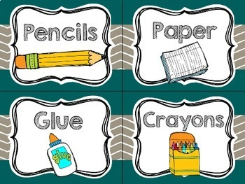 Modern Teal Chevron Classroom Decor {Editable Pages Included}