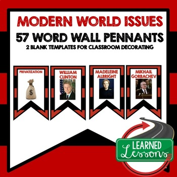 Modern Times Word Wall Pennants (World History)