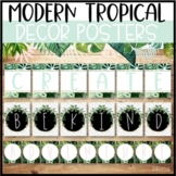 Modern Tropical Classroom Decor   Decorative Word Posters - Editable!