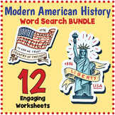 MODERN US HISTORY BUNDLE - 12 Word Search Puzzle Worksheets
