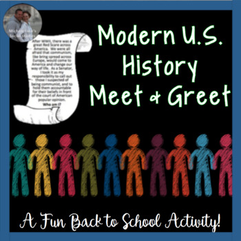 Modern U.S. History Find Someone Who First Day of School or Review Activity CCSS