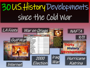 Modern U.S. History Overview (30 developments since 1990) exciting 70-slide PPT