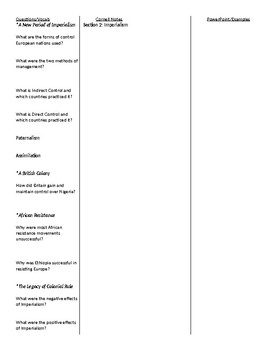 Modern World History: Patterns of Interaction - Chapter 11 Cornell Notes Outline