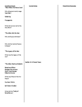 Modern World History: Patterns of Interaction - Chapter 13 Cornell Notes Outline
