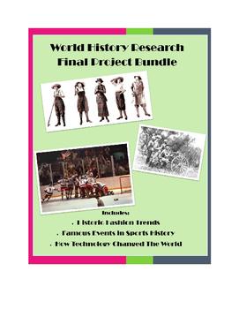 Modern World History Final Project Bundle: Fashion, Sports, Technology
