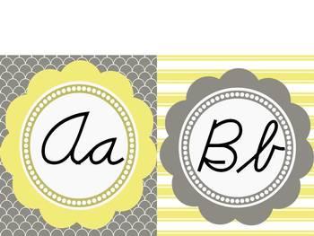 Modern Yellow & Grey Themed Cursive Word Wall