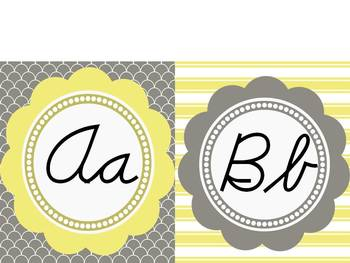 Modern Yellow & Grey Themed Cursive Word Wall