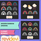 Modern rainbow clip art bundle