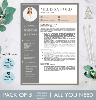 Modern resume template in blush and gray with picture for windows and mac
