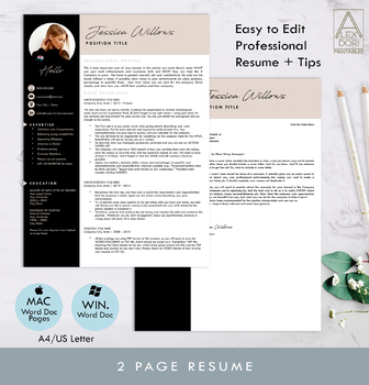 Modern resume template with pictures ,blush black clean resume,resume in 3 pages