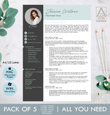 Modern resume template with pictures ,in mint and dark gray
