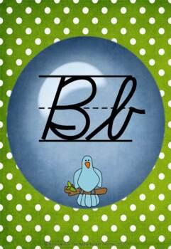 Classroom Alphabet Posters~Cursive~Modern~Bl Dot~Gr Polka Dot Bkgd