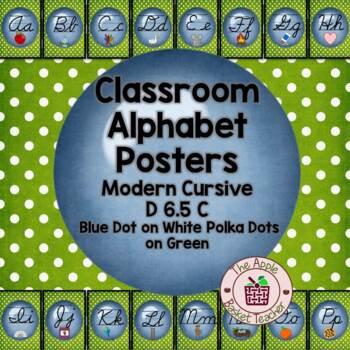 Classroom Alphabet Posters~Cursive~Modern~Bl Dot~Gr Polka