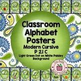 ModernDN Cursive Alphabet Line Posters  Green Dot~Blue/Yel