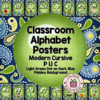 Modern Cursive Alphabet Line Posters Green Dot~Blue/Yellow/Green Paisley I